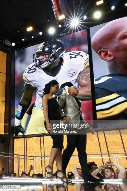 Pittsburgh Steelers linebacker Ryan Shazier walks onstage to announce the Steelers' draft pick during the first round of the 2018 NFL Draft at AT&T...