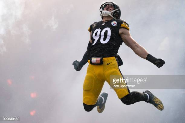 Pittsburgh Steelers Linebacker TJ Watt leaps into the air while being announced during the game between the Cleveland Browns and the Pittsburgh...