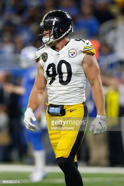 Pittsburgh Steelers linebacker TJ Watt looks on during game action between the Pittsburgh Steelers and the Detroit Lions on October 29 2017 at Ford...