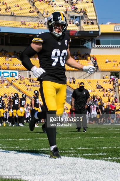 Pittsburgh Steelers linebacker TJ Watt looks on during the NFL football game between the Atlanta Falcons and the Pittsburgh Steelers on October 7...