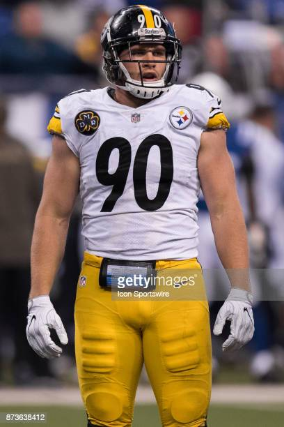 Pittsburgh Steelers linebacker TJ Watt looks to the sidelines during the NFL game between the Pittsburgh Steelers and Indianapolis Colts on November...