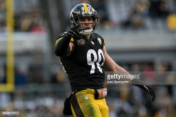 Pittsburgh Steelers Linebacker TJ Watt points to the crowd during the game between the Cleveland Browns and the Pittsburgh Steelers on December 31...