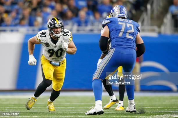Pittsburgh Steelers linebacker TJ Watt rushes during game action between the Pittsburgh Steelers and the Detroit Lions on October 29 2017 at Ford...