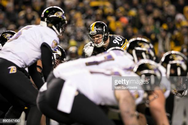 Pittsburgh Steelers Linebacker TJ Watt stares down Baltimore Ravens Quarterback Joe Flacco during the game between the Baltimore Ravens and the...