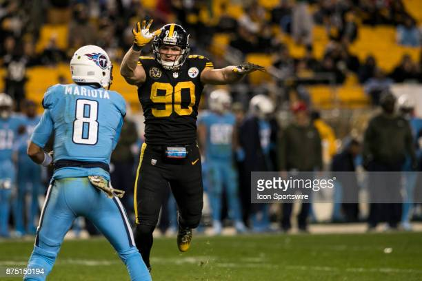 Pittsburgh Steelers Linebacker TJ Watt tries to block Tennessee Titans Quarterback Marcus Mariota pass attempt during the game between the Tennessee...