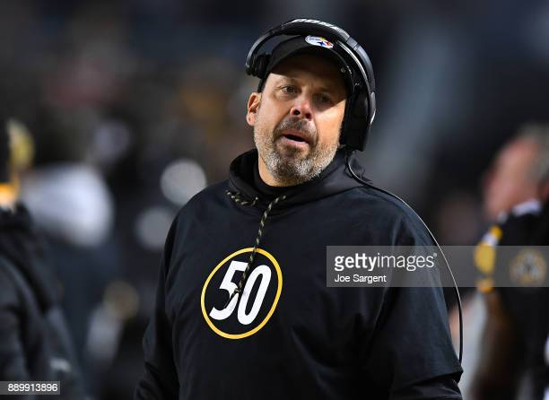Pittsburgh Steelers offensive coordinator Todd Haley wears a shirt honoring Ryan Shazier who was injured in a game last week in the first quarter...