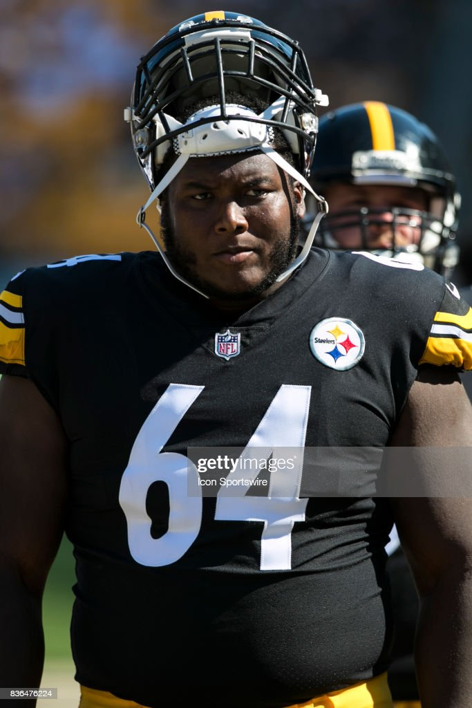 the latest 08b69 c7c00 Pittsburgh Steelers Offensive Lineman Ethan Cooper looks on ...