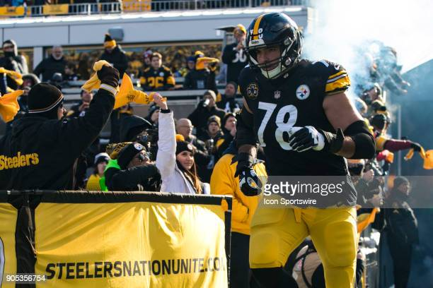 Pittsburgh Steelers offensive tackle Alejandro Villanueva is announced during the AFC Divisional Playoff game between the Jacksonville Jaguars and...