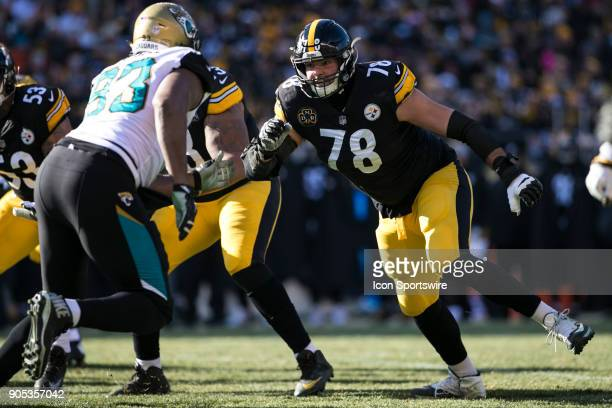 Pittsburgh Steelers offensive tackle Alejandro Villanueva pass blocks during the AFC Divisional Playoff game between the Jacksonville Jaguars and the...