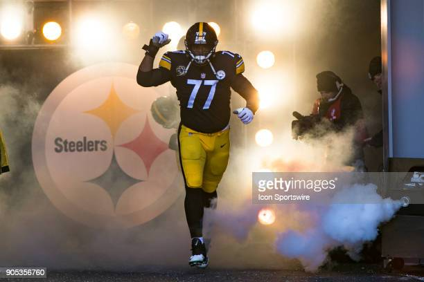 Pittsburgh Steelers offensive tackle Marcus Gilbert is announced during the AFC Divisional Playoff game between the Jacksonville Jaguars and the...