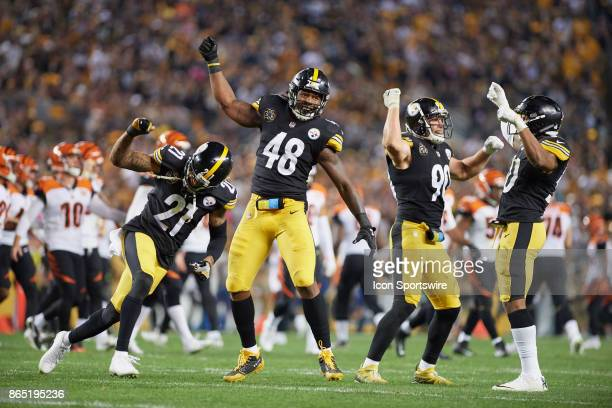 Pittsburgh Steelers outside linebacker Bud Dupree outside linebacker TJ Watt cornerback Joe Haden and inside linebacker Ryan Shazier celebrate Bud...