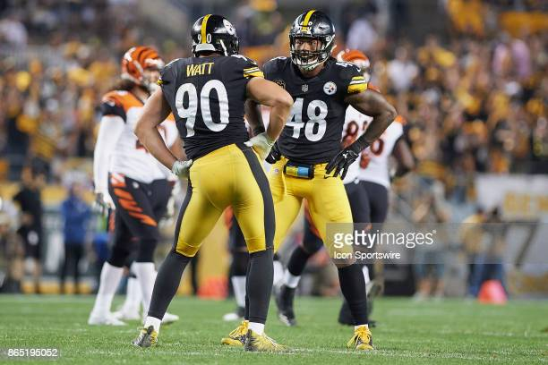Pittsburgh Steelers outside linebacker TJ Watt and outside linebacker Bud Dupree celebrate TJ Watt sacking Cincinnati Bengals quarterback Andy Dalton...