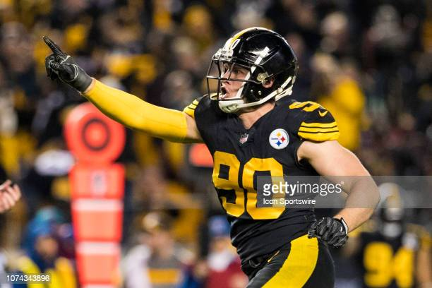 Pittsburgh Steelers outside linebacker TJ Watt celebrates after holding the Patriots on third down during the NFL football game between the New...