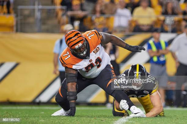 Pittsburgh Steelers outside linebacker TJ Watt makes a play on Cincinnati Bengals offensive tackle Andre Smith during an NFL game between the...