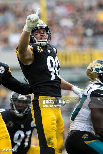 Pittsburgh Steelers outside linebacker TJ Watt points to the crowd after making a tackle during the game between the Jacksonville Jaguars and the...