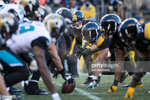 Pittsburgh Steelers outside linebacker TJ Watt stares down the Jaguars line during the AFC Divisional Playoff game between the Jacksonville Jaguars...
