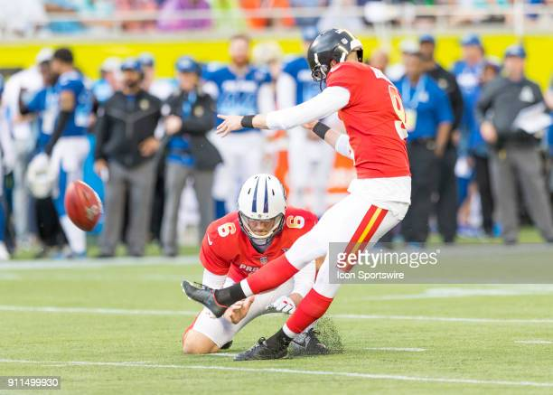 Pittsburgh Steelers placekicker Chris Boswell kicks the extra point for the AFC During the NFL Pro Bowl match between the AFC NFC on January 28 2018...