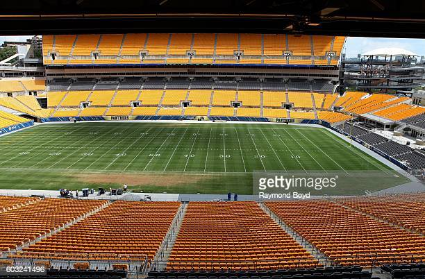 Pittsburgh Steelers playing field inside Heinz Field home of the Pittsburgh Steelers and Pittsburgh Panthers football teams in Pittsburgh...