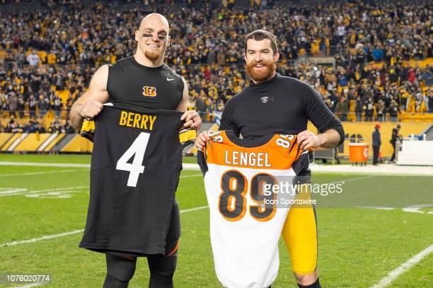 Pittsburgh Steelers punter Jordan Berry and Cincinnati Bengals tight end Matt Lengel swap jerseys after the game between the Pittsburgh Steelers and...