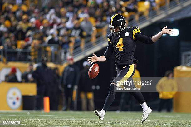 Pittsburgh Steelers punter Jordan Berry kicks the ball during a NFL football game between the Pittsburgh Steelers and the Baltimore Ravens on...