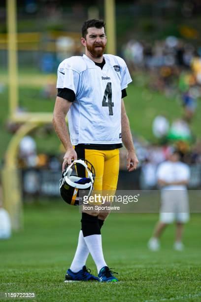 Pittsburgh Steelers punter Jordan Berry looks on during the Pittsburgh Steelers training camp on August 3 2019 at Chuck Noll Stadium at Saint Vincent...