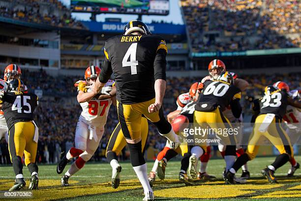 Pittsburgh Steelers Punter Jordan Berry punts out of his end zone during the second quarter of the National Football League game between the...