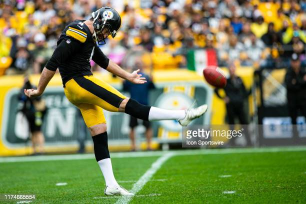 Pittsburgh Steelers punter Jordan Berry punts the ball during the NFL football game between the Baltimore Ravens and the Pittsburgh Steelers on...