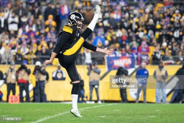 Pittsburgh Steelers punter Jordan Berry watches the ball after his kick during the NFL football game between the Buffalo Bills and the Pittsburgh...