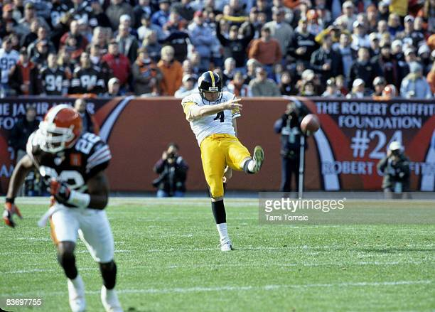 Pittsburgh Steelers punter Josh Miller kicks the football away during the Steelers 2320 victory over the Cleveland Browns on November 3 2002 at...