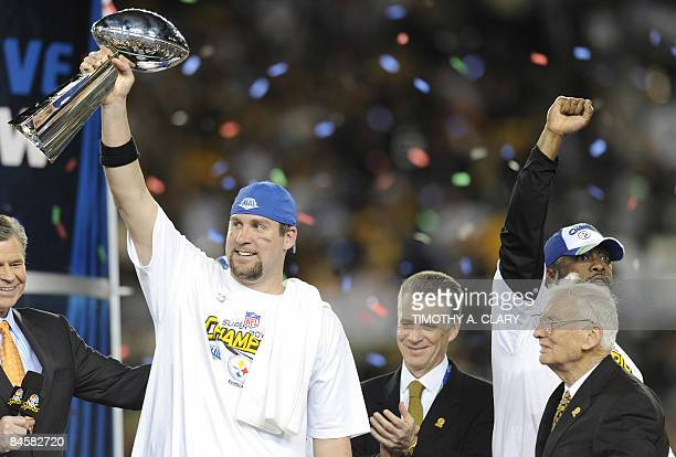 Pittsburgh Steelers quarterback Ben Roethlisberger holds the Vince Lombardi trophy after defeating the Arizona Cardinals 2723 in Super Bowl XLIII at...