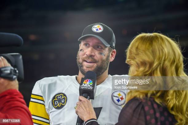 Pittsburgh Steelers quarterback Ben Roethlisberger is interviewed by NBC's Heather Cox following the football game between the Pittsburgh Steelers...