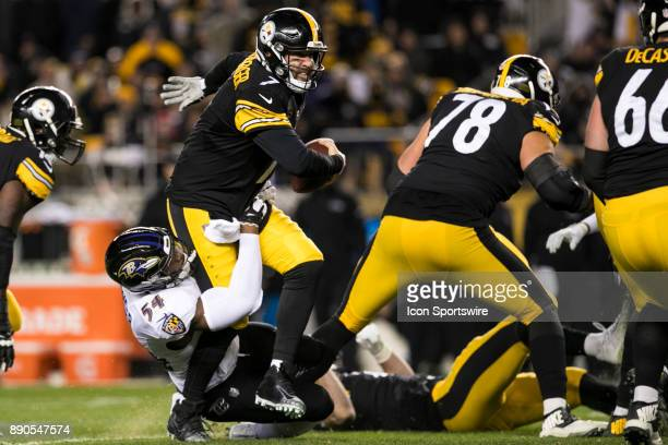 Pittsburgh Steelers Quarterback Ben Roethlisberger is sacked by Baltimore Ravens Linebacker Tyus Bowser during the game between the Baltimore Ravens...
