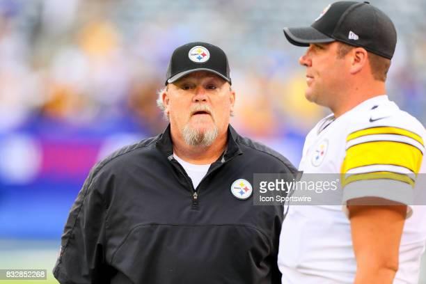 Pittsburgh Steelers quarterback coach Randy Fichtner talks with Pittsburgh Steelers quarterback Ben Roethlisberger prior to the Preseason National...