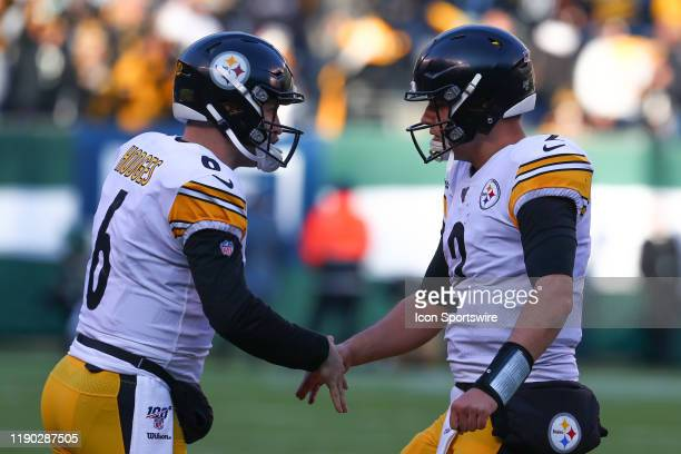 Pittsburgh Steelers quarterback Devlin Hodges and Pittsburgh Steelers quarterback Mason Rudolph during the National Football League game between the...