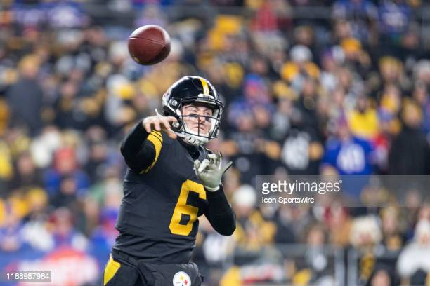 Pittsburgh Steelers quarterback Devlin Hodges throws the ball during the NFL football game between the Buffalo Bills and the Pittsburgh Steelers on...
