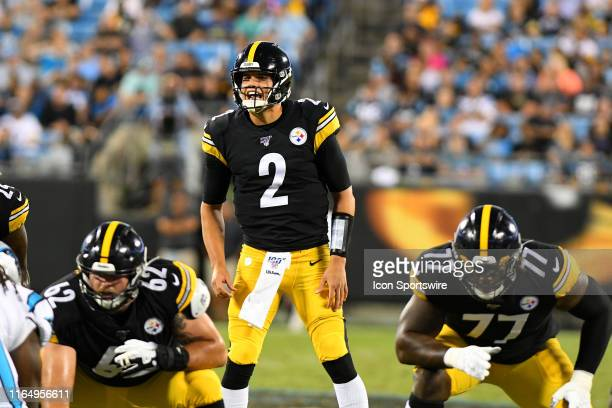 Pittsburgh Steelers quarterback Mason Rudolph calls out a play from behind center during the preseason game between the Pittsburgh Steelers and the...