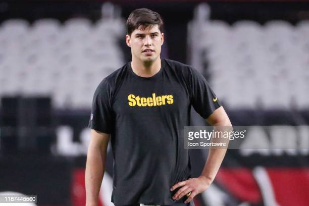 Pittsburgh Steelers quarterback Mason Rudolph looks on before the NFL football game between the Pittsburgh Steelers and the Arizona Cardinals on...