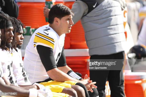Pittsburgh Steelers quarterback Mason Rudolph sits on the bench during the game against the Pittsburgh Steelers and the Cincinnati Bengals on...