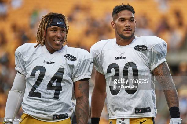 Pittsburgh Steelers running back Benny Snell and running back James Conner during the Pittsburgh Steelers training camp on August 4, 2019 at Heinz...