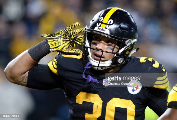 Pittsburgh Steelers running back James Conner celebrates his 2yard touchdown run against the Carolina Panthers at Heinz Field in Pittsburgh on...
