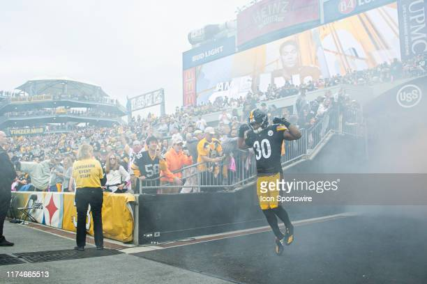 Pittsburgh Steelers running back James Conner is announced during the NFL football game between the Baltimore Ravens and the Pittsburgh Steelers on...