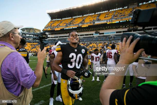 Pittsburgh Steelers Running back James Conner is interviewed after the preseason game between the Atlanta Falcons and the Pittsburgh Steelers on...