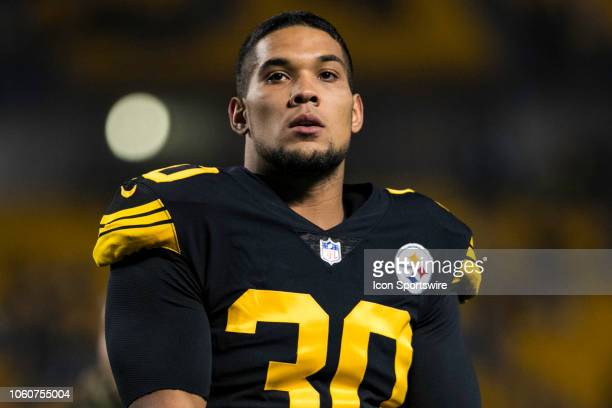 Pittsburgh Steelers running back James Conner looks on during the NFL football game between the Carolina Panthers and the Pittsburgh Steelers on...