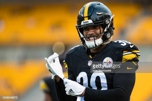 Pittsburgh Steelers running back James Conner looks on during the preseason NFL game between the Carolina Panthers and Pittsburgh Steelers on August...