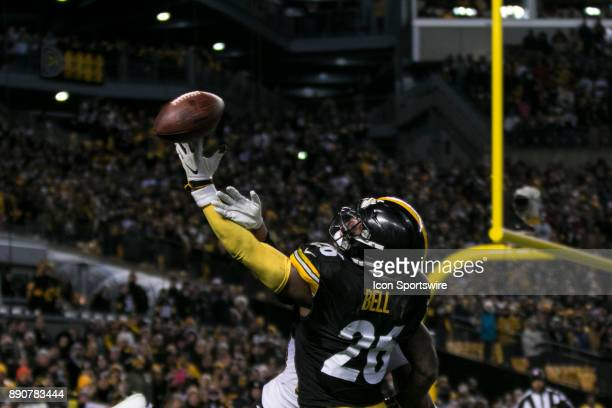 Pittsburgh Steelers Running Back Le'Veon Bell comes very close to catching a pass in the end zone during the game between the Baltimore Ravens and...
