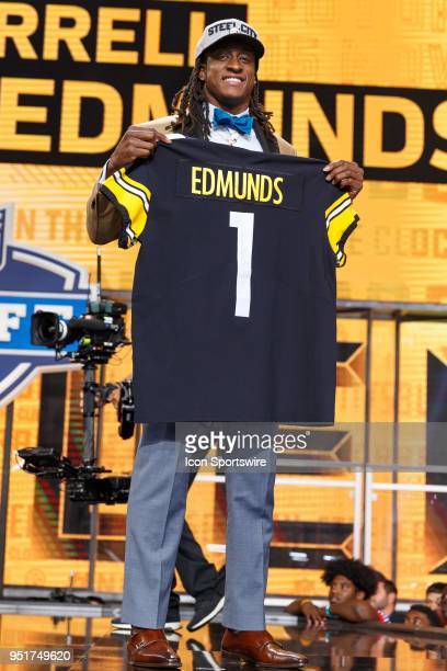 Pittsburgh Steelers select Virginia Tech Safety Terrell Edmunds with the 28th overall pick during the first round of the NFL Draft on April 26, 2018...