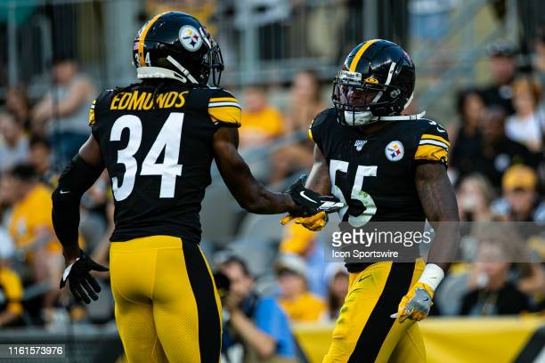 Pittsburgh Steelers strong safety Terrell Edmunds and Pittsburgh Steelers linebacker Devin Bush celebrate during the NFL football game between the...