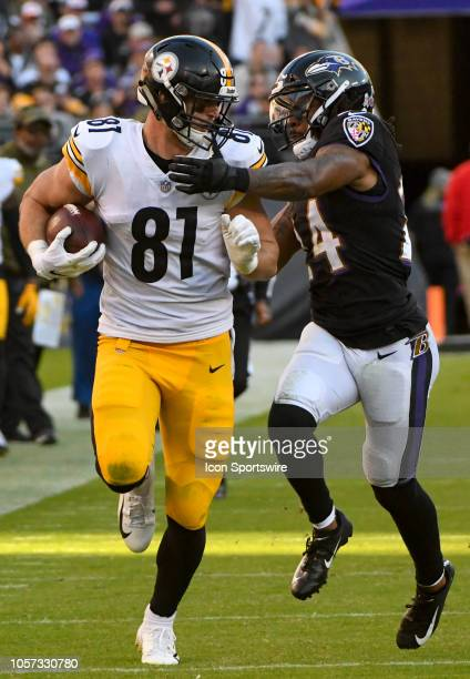 Pittsburgh Steelers tight end Jesse James catches a long pass in the fourth quarter against Baltimore Ravens cornerback Brandon Carr on November 4 at...