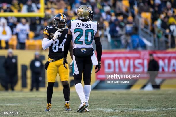 Pittsburgh Steelers wide receiver Antonio Brown eyes up Jacksonville Jaguars cornerback Jalen Ramsey during the AFC Divisional Playoff game between...