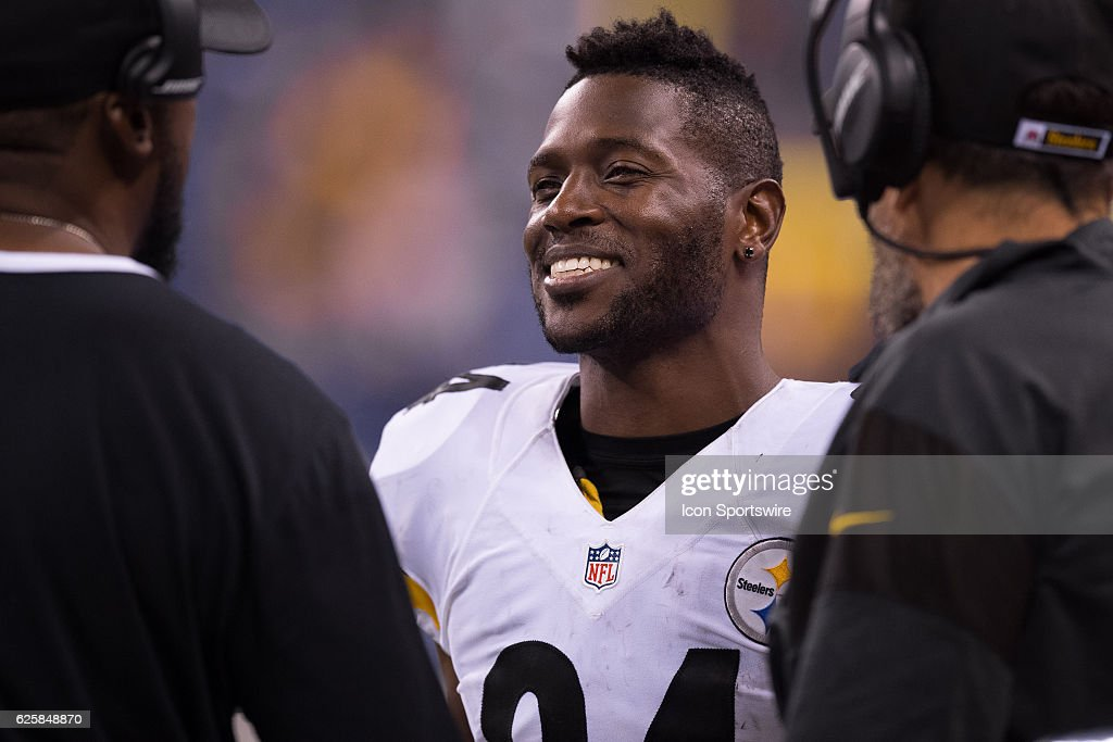 Pittsburgh Steelers wide receiver Antonio Brown (84) laughs with Pittsburgh Steelers head coach Mike Tomlin on the sidelines during the NFL game between the Pittsburgh Steelers and Indianapolis Colts on November 24, 2016, at Lucas Oil Stadium in Indianapolis, IN.